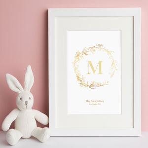 Hand Drawn Wreath Personalised Nursery Print