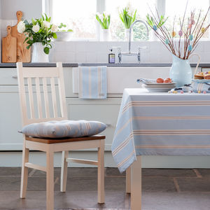 Eastnor Blue Grey Ticking Stripe Organic Table Cloth