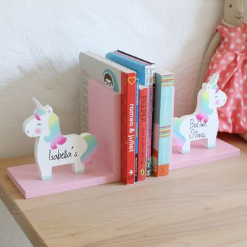 Personalised Rainbow Unicorn Bookends