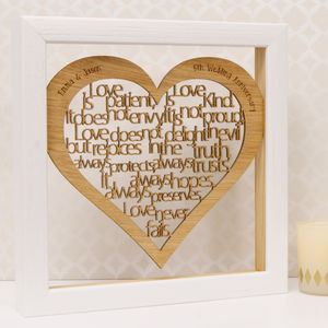 Personalised 5th Wood Anniversary 'Love Is…' Artwork - typography
