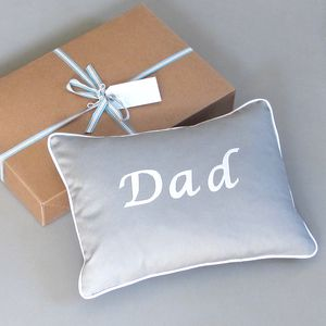 Handmade 'Dad' Christmas Cushion Gift Wrapped - bedroom