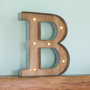 Wooden Alphabet Letter LED Light - wall lights