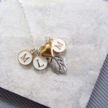 Silver Feather And Three Initials Necklace