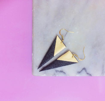 Black And Gold Faux Leather Earrings