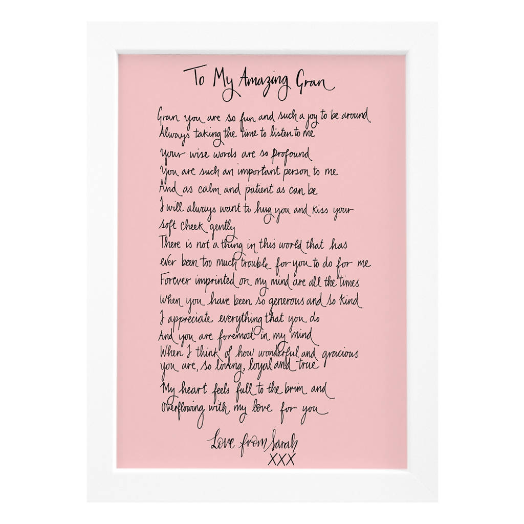 personalised grandma poem gift by de fraine design london ...