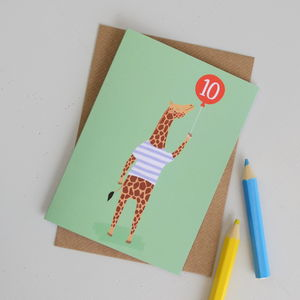Age 10 Giraffe Children's Birthday Card