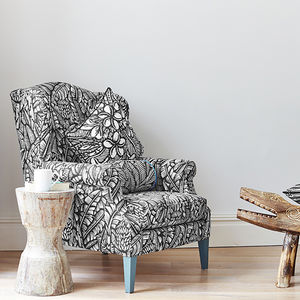 Screen Printed Palm Tropical Pattern Wing Back Chair - furniture