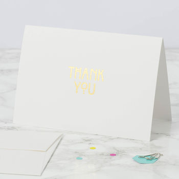 Set Of Six Gold Art Deco Thank You Cards