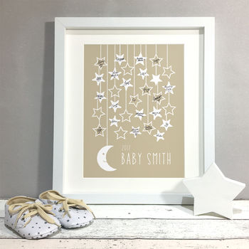 Moon Stars Personalised Baby Shower Guest Book Print