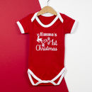 Personalised First Christmas Sparkly Baby Grow