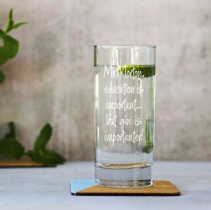 Personalised Important Teachers Gin Glass