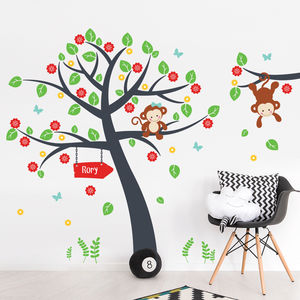 Blossom Tree And Monkeys Wall Decal Sticker