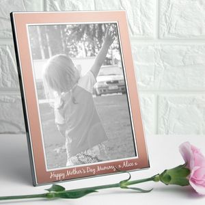 Personalised Rose Gold Metal Photo Frame - picture frames