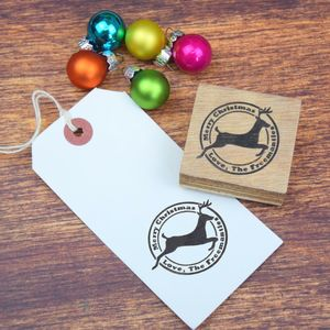 Personalised Flying Reindeer Family Message Stamp - cards & wrap