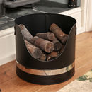 Contemporary Black And Silver Fireside Fuel Bucket