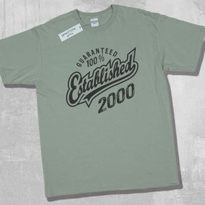 'Established 2000' 18th Birthday T Shirt - 18th birthday gifts