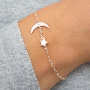 Evie Personalised Moon And Star Bracelet
