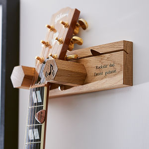 Personalised Solid Oak Guitar Wall Stand - gifts for him