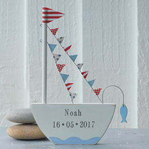 Personalised Standing Boat With Fish - decorative accessories