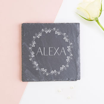 Personalised Coaster Floral Wreath Slate Gift