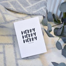Merry Christmas Card Monochrome Typographic