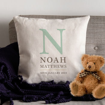 Personalised Canvas Cushion Cover For New Baby Boy