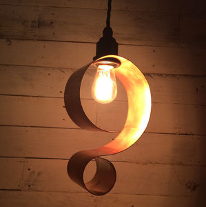 Bideford Hand Rolled Copper '?' Shaped Pendant Light