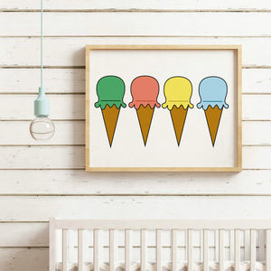 Multi Coloured Ice Cream Print - posters & prints