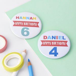 Child's Personalised Age Birthday Badge - more