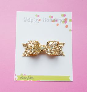 Happy Holiday Glitter Hair Bow - combs & hair pins