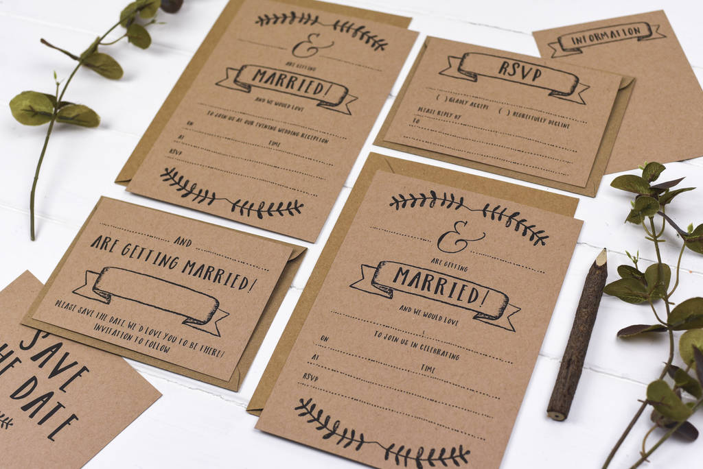 Kraft Write Your Own Wedding Invitation Set By Russet And