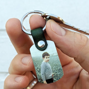 Personalised Metal And Leather Photo Keyring For Dad