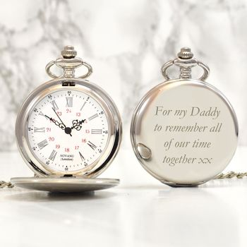 Engraved Vintage Pocket Watch Silver