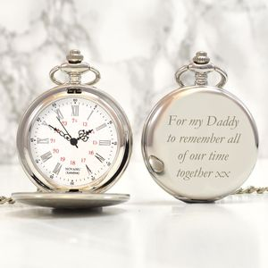 Engraved Vintage Pocket Watch Silver - personalised jewellery
