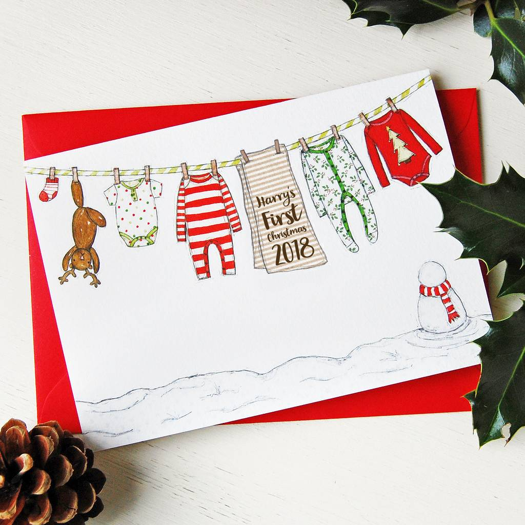 personalised baby u0026 39 s first christmas card by clara and macy