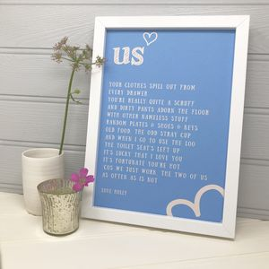 Personalised Love Gift For Husband Or Boyfriend 'Us'