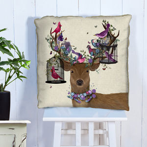 Deer And Bird Cages Decorative Cushion - living room