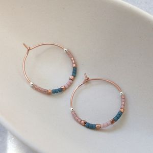 Delica Pattern 20mm Hoops In Pale Pinks And Blue - earrings