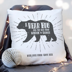 'A Bear Hug From' Personalised Locations Cushion - shop by recipient
