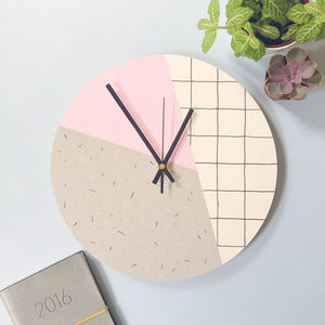 Memphis Inspired Wall Clock In Pink Grid