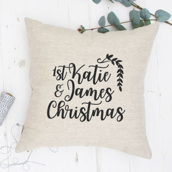 Personalised 1st Christmas Embroidered Cushion