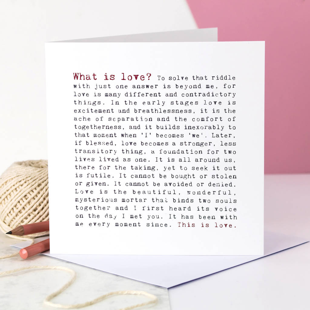 Wedding Card 'what Is Love?' Poem By Coulson Macleod