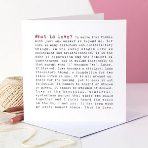 Wedding Card; What Is Love Poem - wedding cards