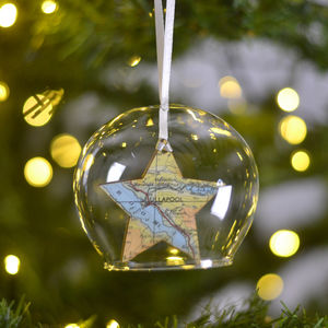Personalised Map Christmas Decoration Glass Bauble