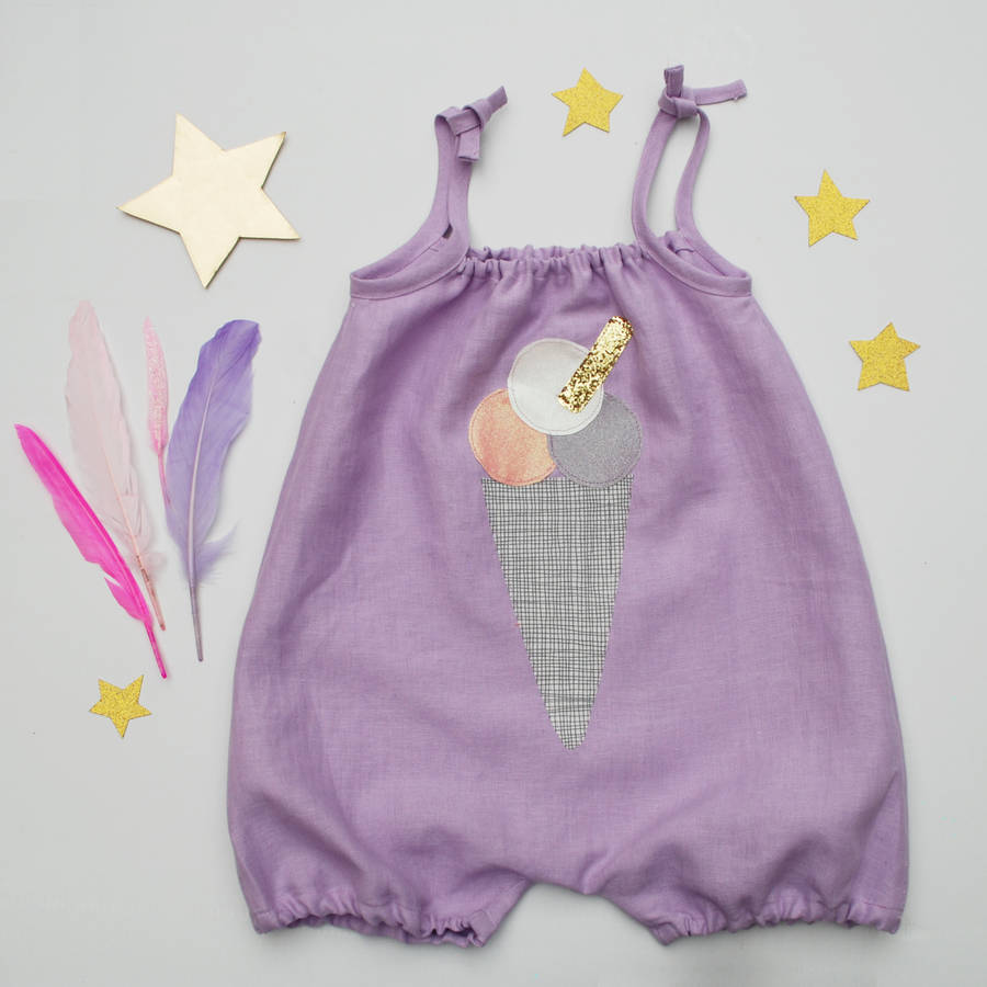 Ice Cream Linen Baby Romper