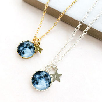 Personalised Moon And Star Necklace