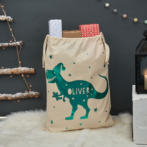 Personalised T Rex Christmas Sack - christmas sale