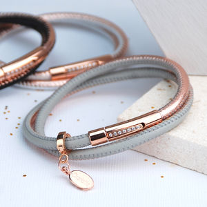 Mala Rose Gold And Leather Double Wrap Bracelet - bracelets & bangles