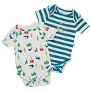 Unisex Blue Magic Dragon Themed Two Pack Baby Bodysuit