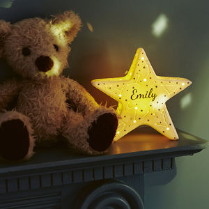 Personalised LED Constellation Ceramic Star Decoration - stocking fillers